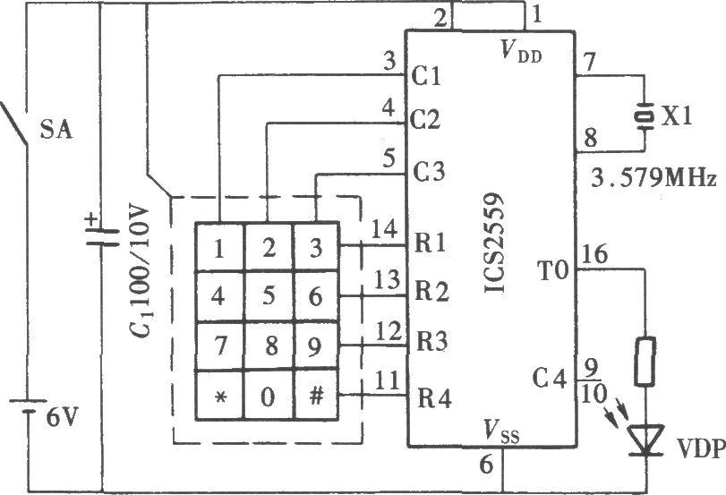 DTMF编码多路红外遥控开关电路