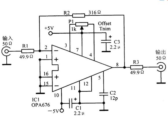 50Ω输入一输出阻抗16dB宽带视频放大电路