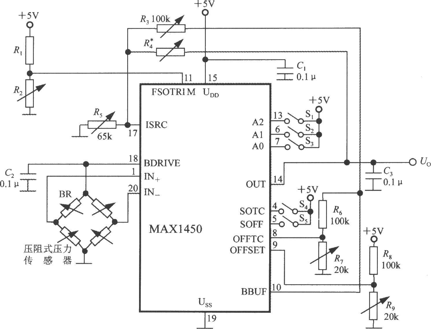 由MAX1450构成的压力信号调理电路