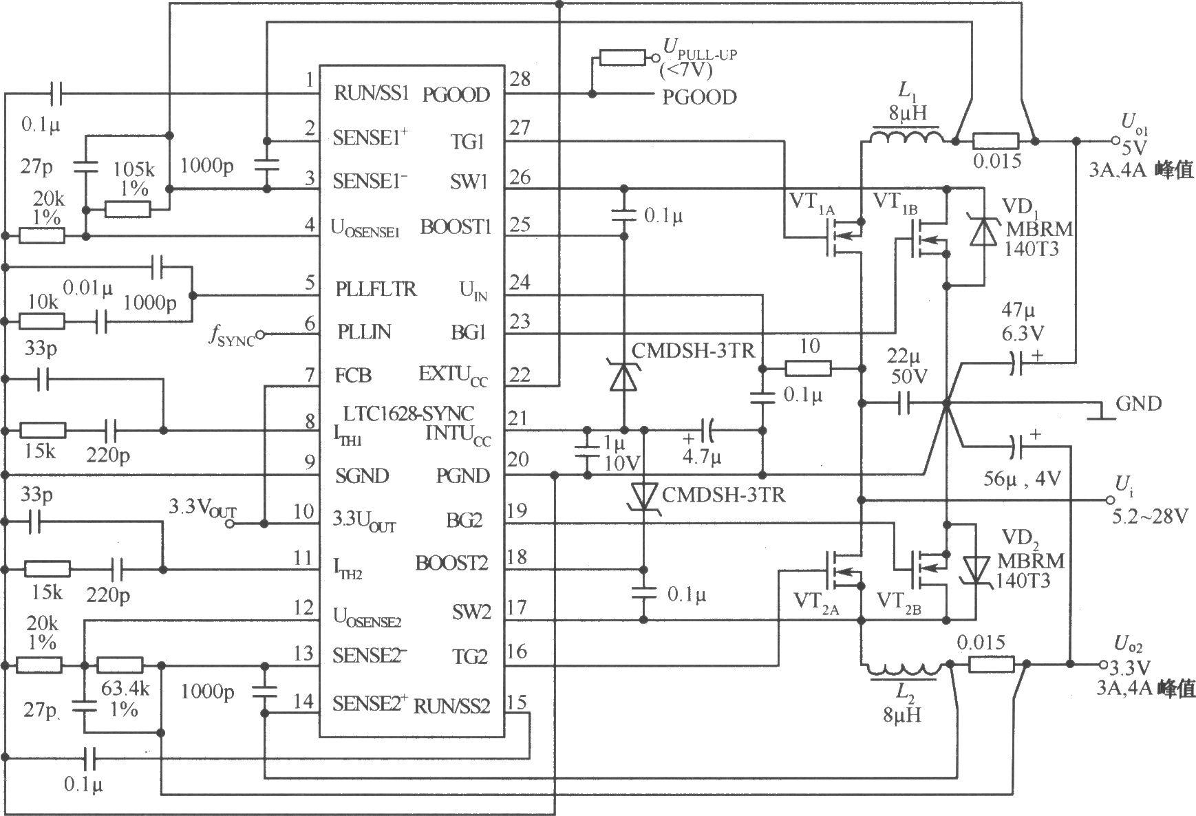 由LTCl628-SYNC构成的5V/4A,3.3V/4A双路直流稳压电源