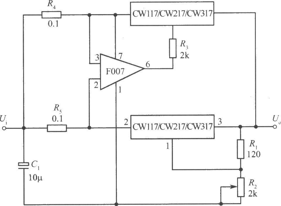 两只CW117/CW217/CW317构成的并联扩展输出电流
