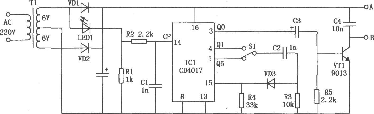 cd4017构成的变频式电磁打点计时器-电路图-aet-北大