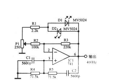 使用发光二极管和运算放大器的400Hz正弦波电路