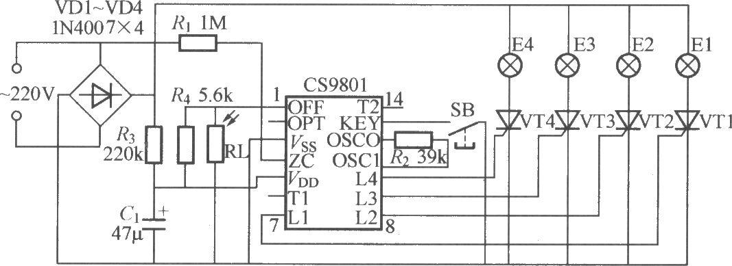 如图所示是一个采用专用集成电路的四路闪烁灯串控制器CS9801,它具有四路输出;单键循环控制16种花样,并可选择16段或前8段、后8段花样。电路还设有光敏电阻器RL,可使灯串在白天自动关闭,夜间闪烁;该电路十分适宜用作圣诞树彩灯控制。RL可选用MG45型光敏电阻器;晶闸管可用MCR100-8型。下表为CS9801内储的16种花样。
