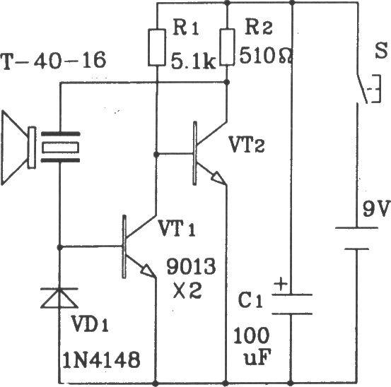 T/R-40系列通用型超声波发射/接收传感器电路图