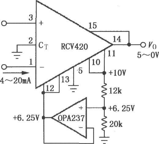 如图所示,电路利用内部10V基准电源输出的10V电压,经电阻分压后取得 6.25V电压。由运放OPA237构成的射极跟随器作为隔离,向Ref In和Rcv Com端提供 6.25V电压。输出电压可由公式确定:VO=6.25V-0.3125IIN。