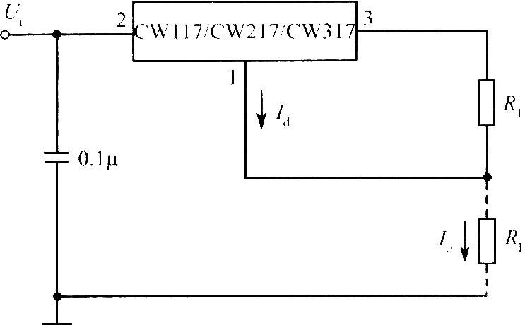 三端可调输出电压集成稳压器的基准电压较低(1.25V),维持输出电压稳定的能力很强。另外,调整端电流非常小,仅有50A左右,并且又极其稳定,只有0.5A的变化。因此,可以用它组装成电流恒定且效率较高的恒流源电路。如图为一个标准的恒流源电路。输出电流为:Io=Id 1.25/R1。由于Id较小,可近似认为Io=1.