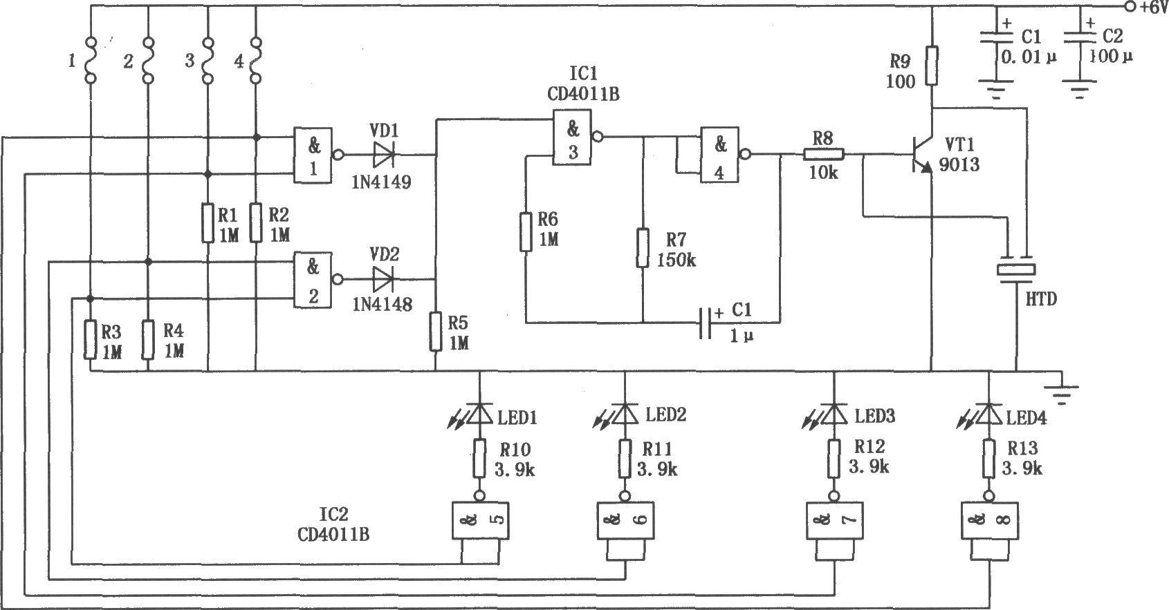 四路防盗报警器电路如图所示.