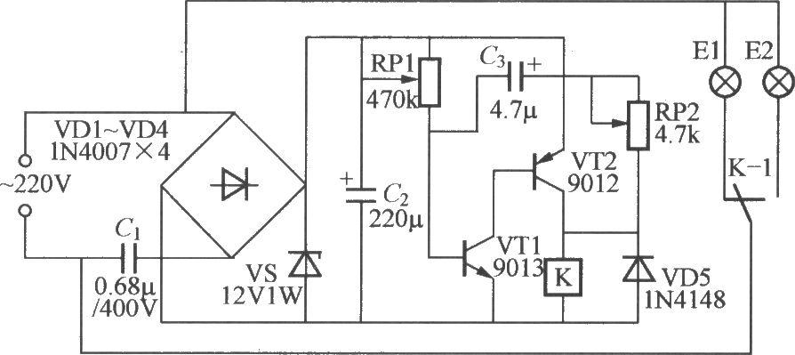 双路闪烁灯串电路(1)