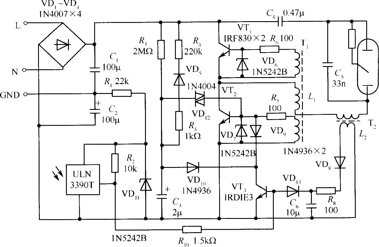 175W汞蒸气灯自动开/关的电子镇流器电路