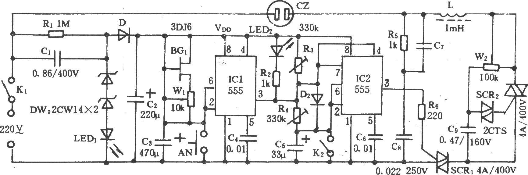 电风扇多功能定时控制电路