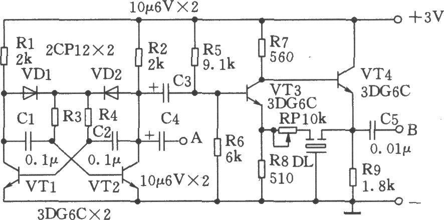 vt3,vt4组成中频信号发生器,dl起选频作用.调节rp可改变振荡强度.
