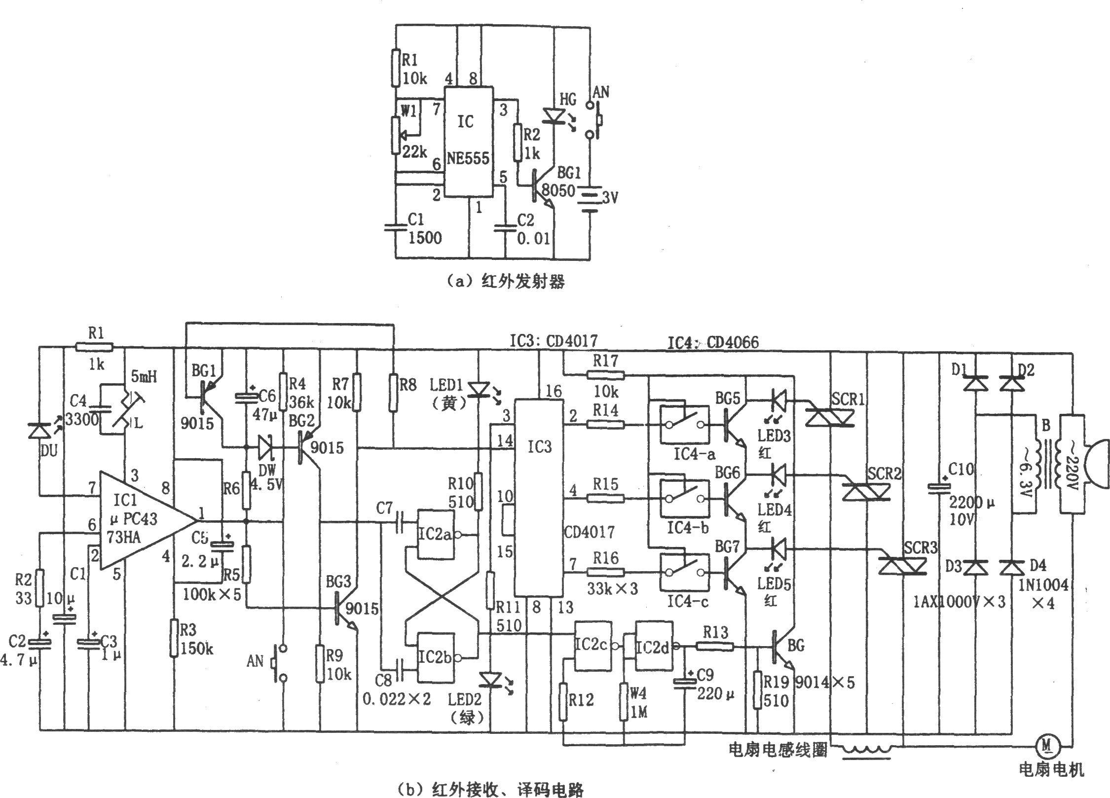 家用电扇红外遥控器(ne555,cd4017,cd4066)-电路图