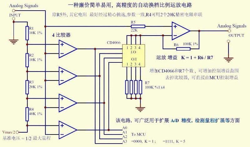 一个高精度自动换挡比例运放电路