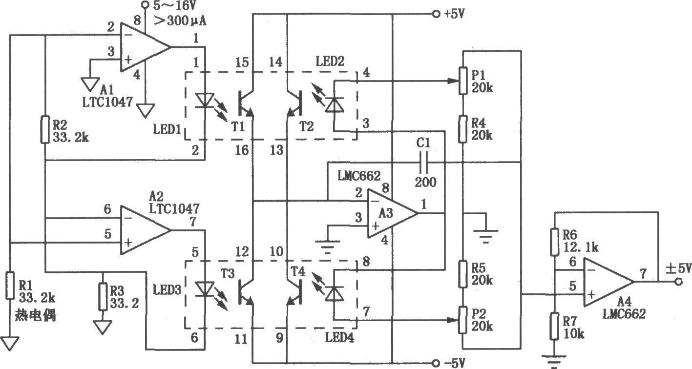 光隔离超稳定零点的放大电路