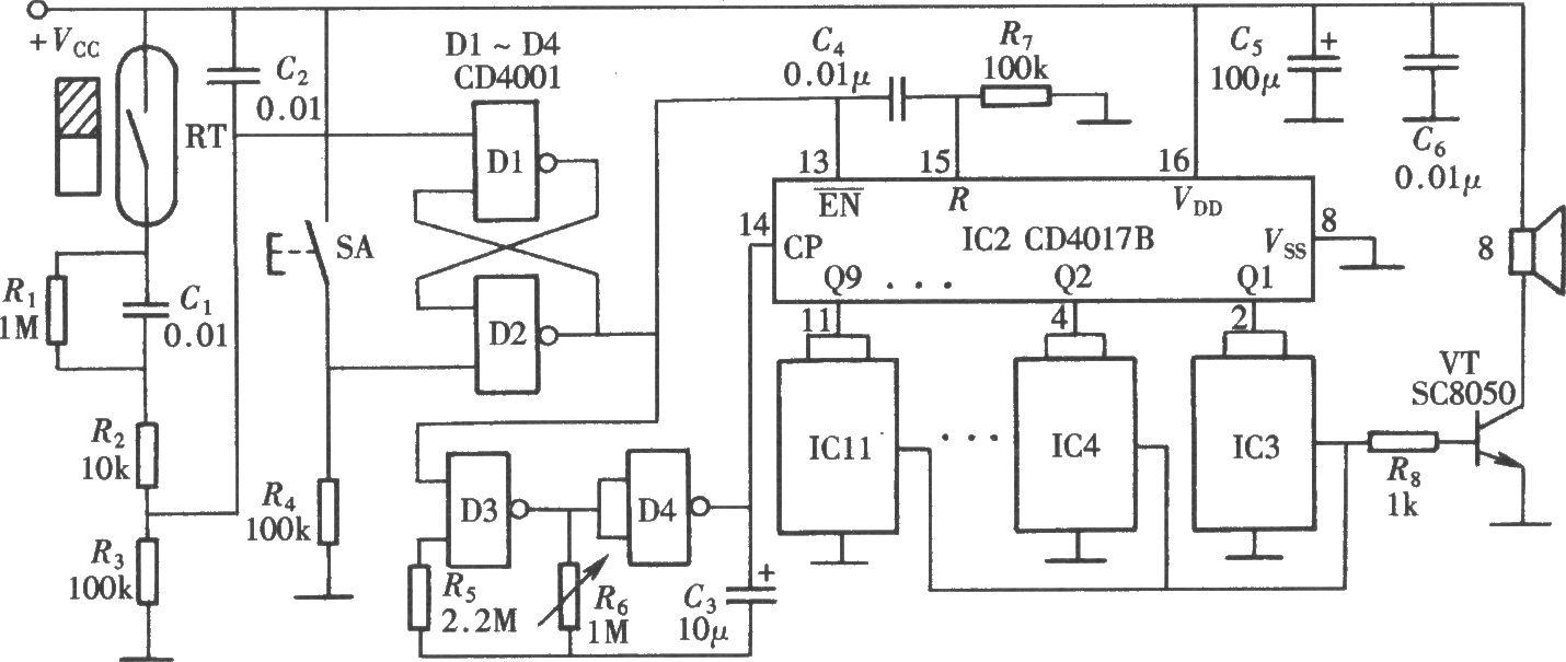 如图所示的音乐门铃由多只音乐片电路组成,当来客按动门铃按钮后,可以听到不断变换的多种音乐演奏声,这种多变的音乐门铃,一方面可以缓解来客等待的焦急;同时使主人有足够的时间来间断正在进行的工作为客人开门。电路组成如图所示,由门铃触发电路、多乐曲自动转换电路和多只音乐片组成。