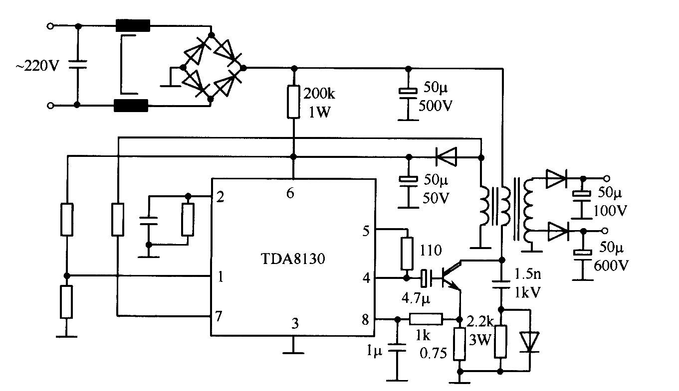 TDA8130典型应用电路(开关稳压电源)