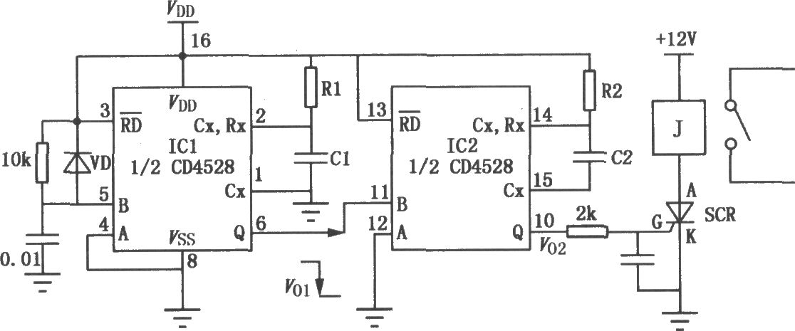 单稳态触发器cd4528组成的延时电路