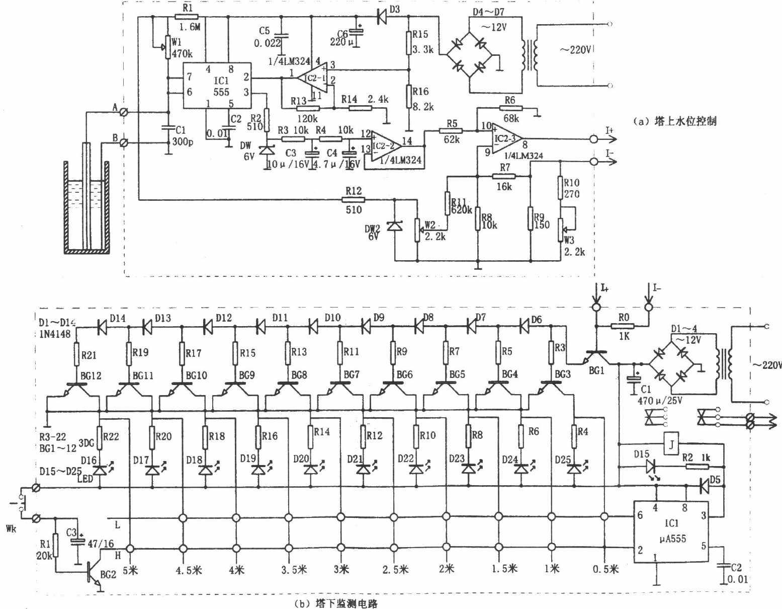 水塔水位有线遥测遥控装置-电路图-aet-北大中文核