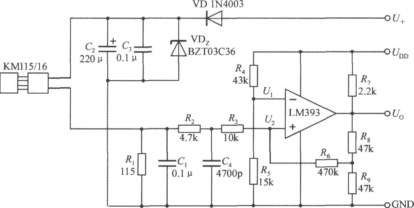 由集成转速传感器KMI15/16构成的转速测量电路
