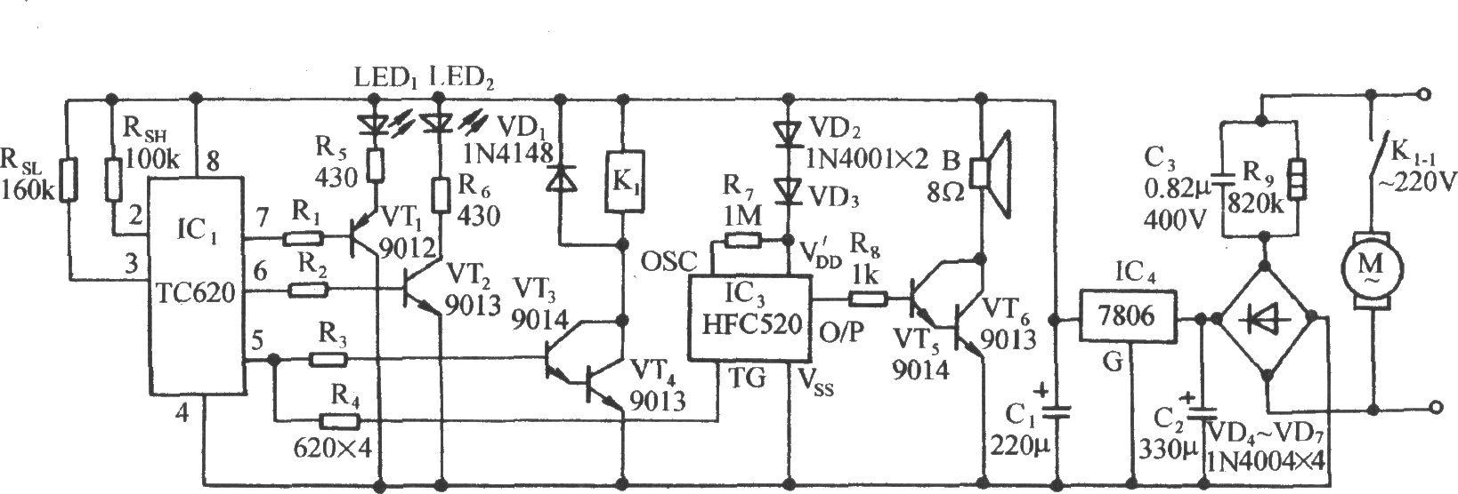 它由温度传感,控制器件,上下限温度显示器,继电器控制电机电路,海浪