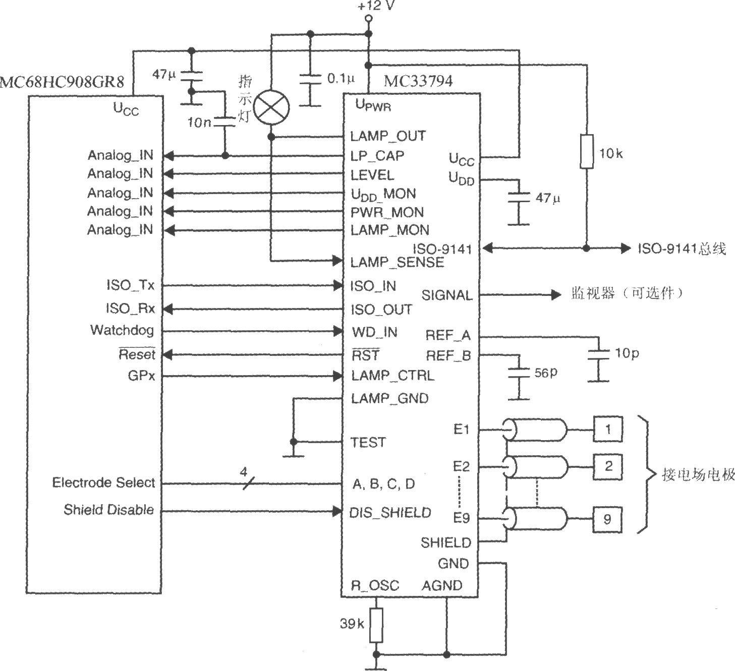 电场感应器件MC33794与微控制器的接线图