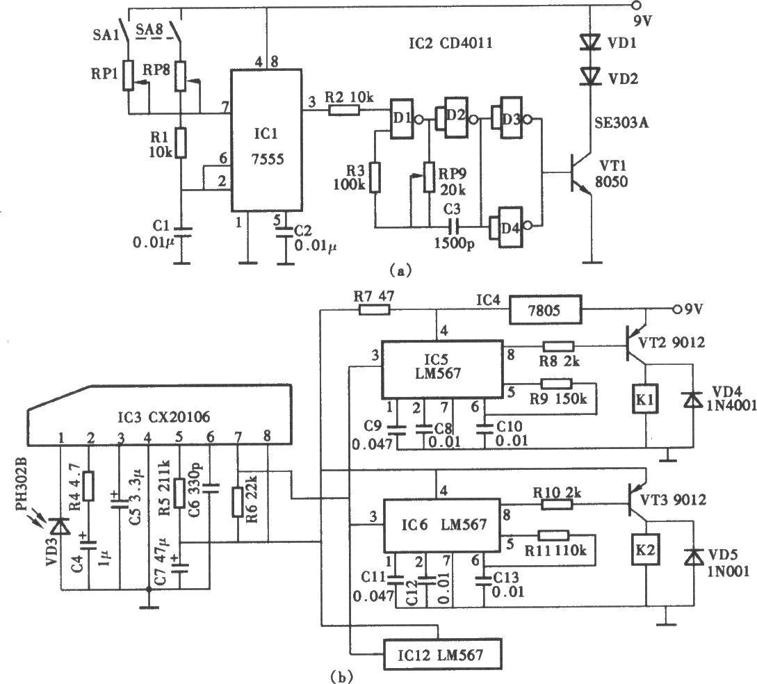 8通道红外遥控电路 (a)8通道遥控发射器;(b)红外接收及通道译码
