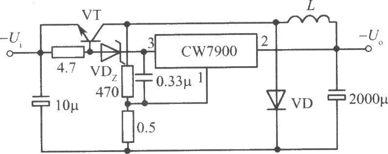 CW7900构成的自激开关式集成稳压电源电路