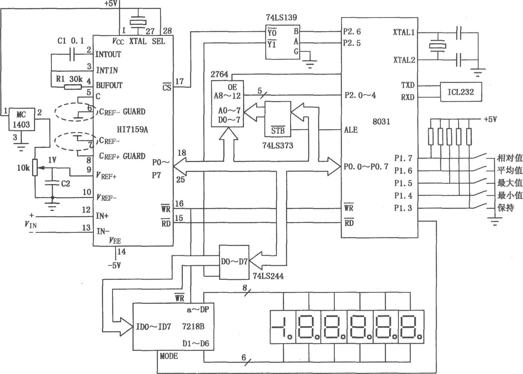 HI7159A和8031单片机构成的智能化数字电压表