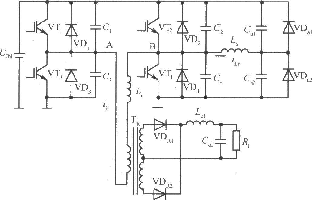 移相控制零电压PWM DC/DC全桥变换器主电路原理图