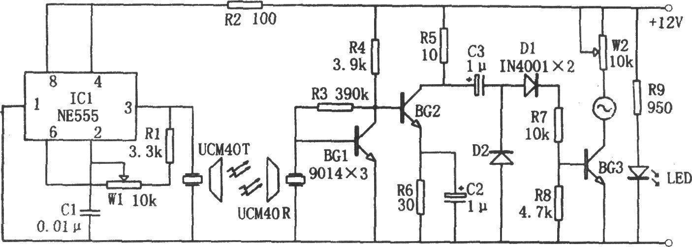 NE555构成的超声波液位指示电路