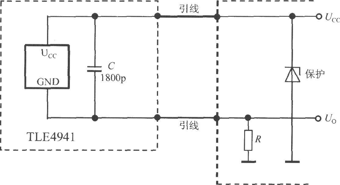 二线式智能霍尔传感器集成电路tle4941的典型应用电路