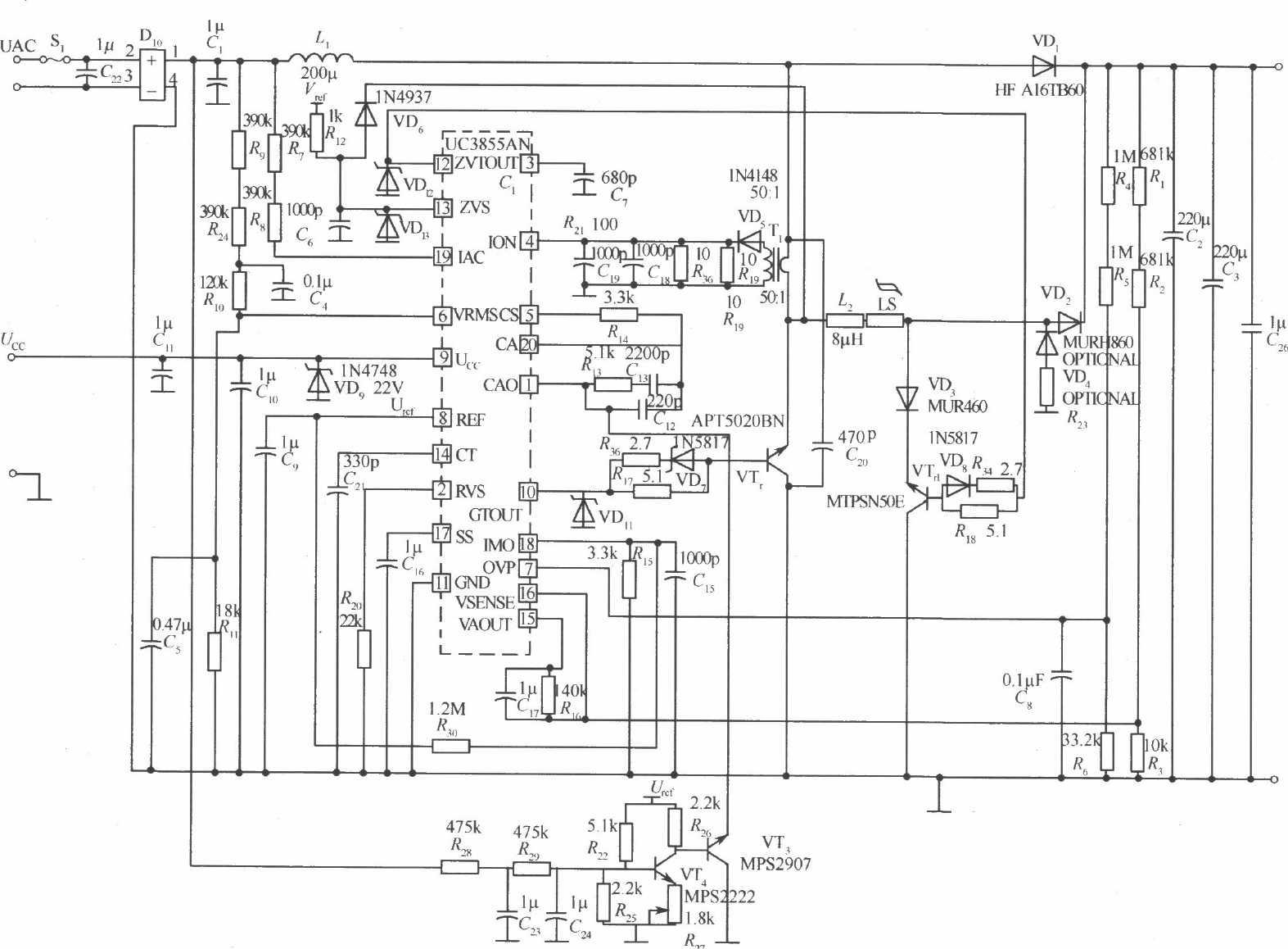 ZVT软开关PFC开关稳压电源电路二