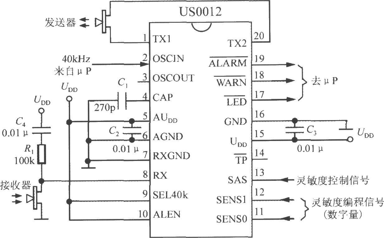 配μP的超声波干扰探测系统(基于DSP和模糊逻辑技术的超声波干扰