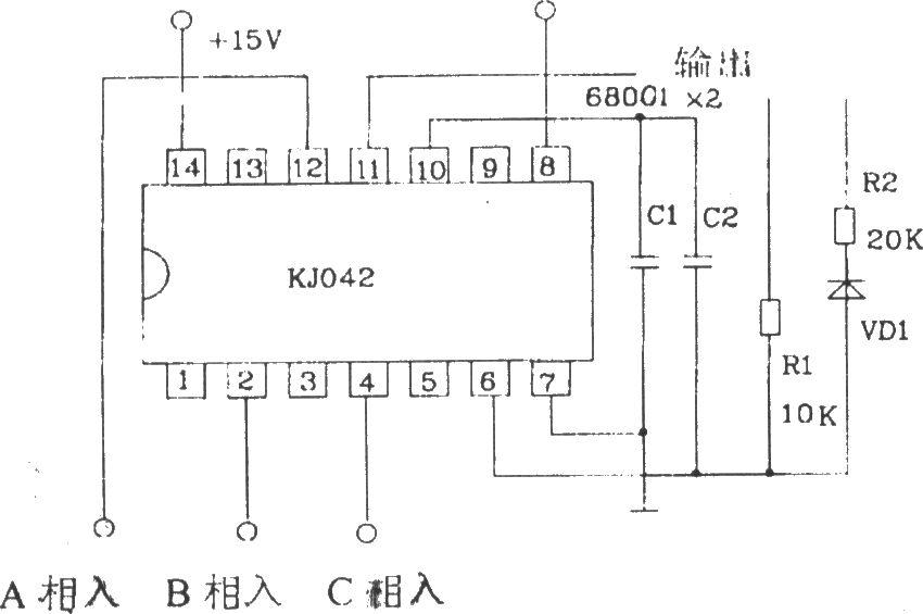 脉冲列调制形成器KJ042外电路连接图