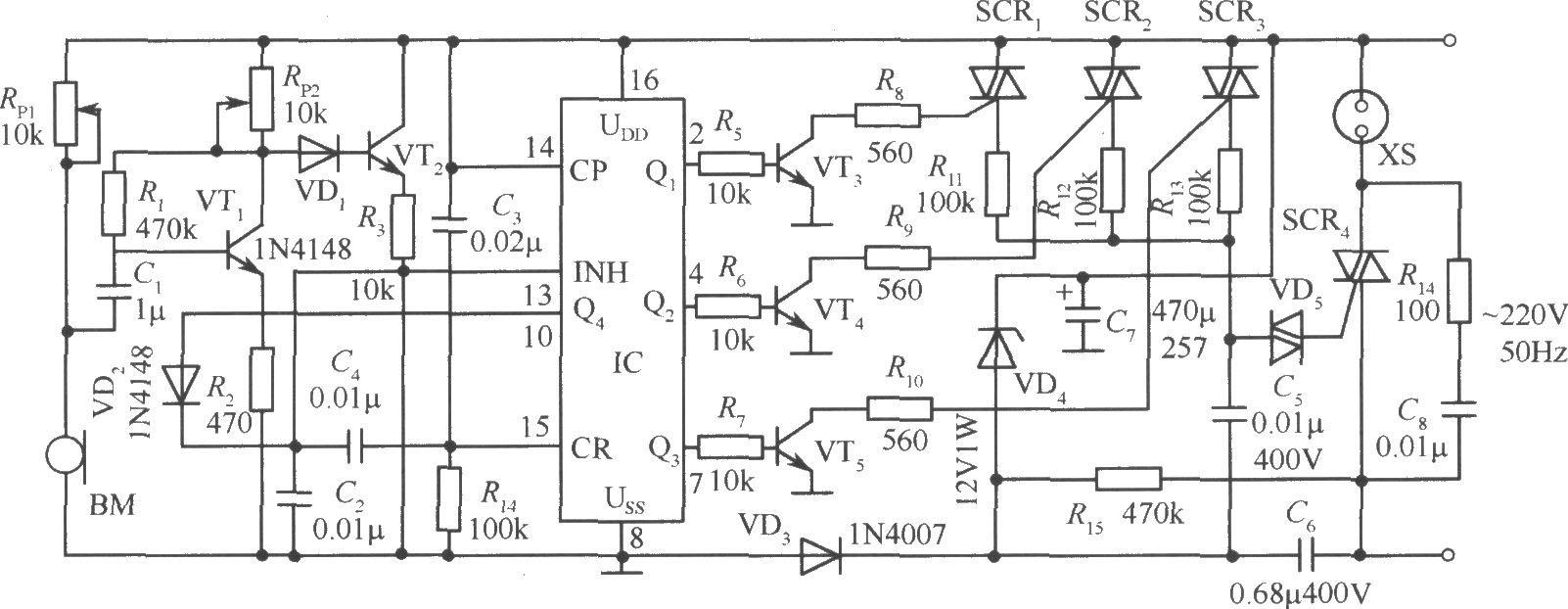 声控交流调压器电路
