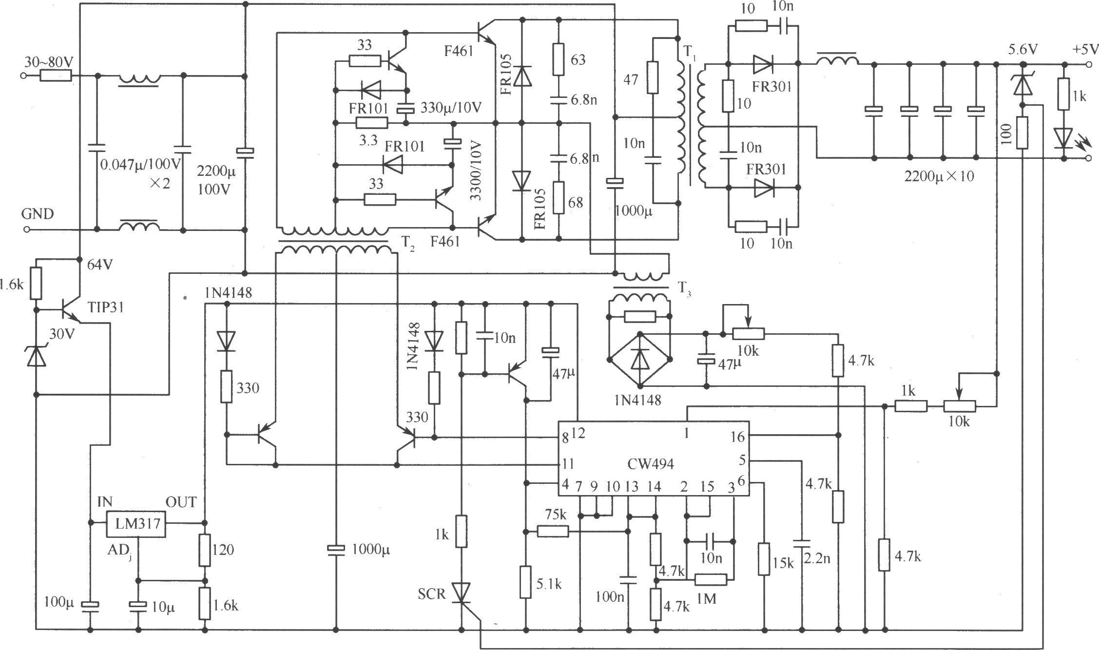 推挽式变换器式开关稳压电源实用电路-电路图-aet--最