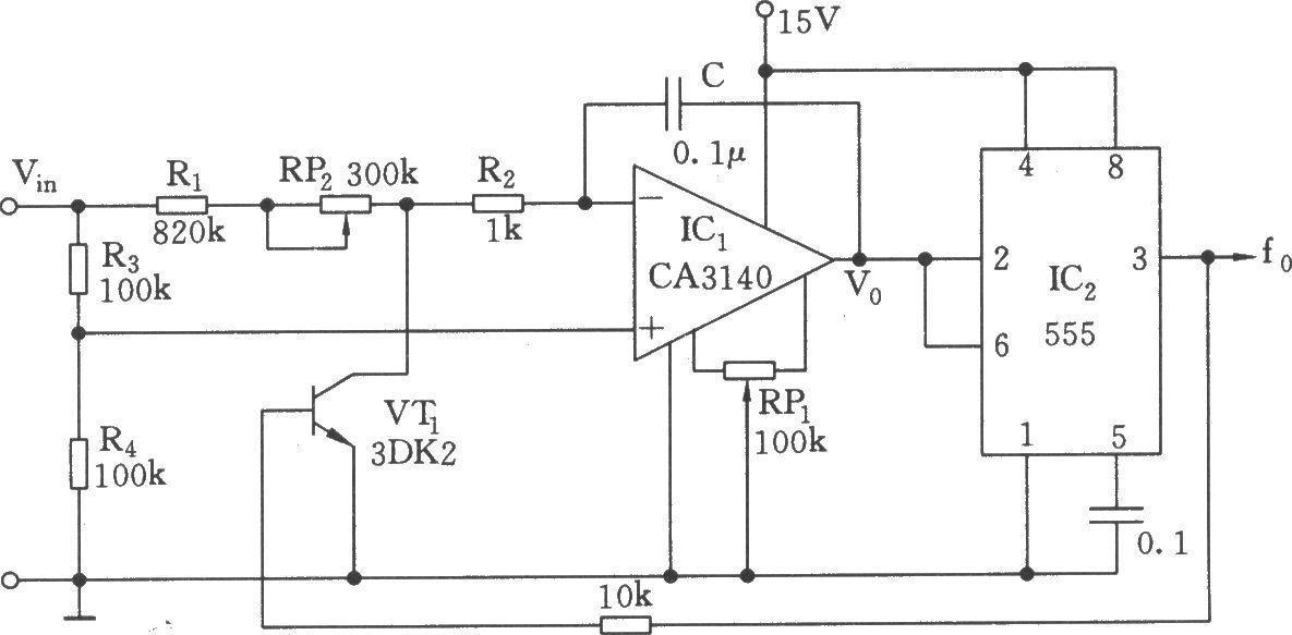 低转换系数的电压/频率转换器(555)-电路图-aet-北大