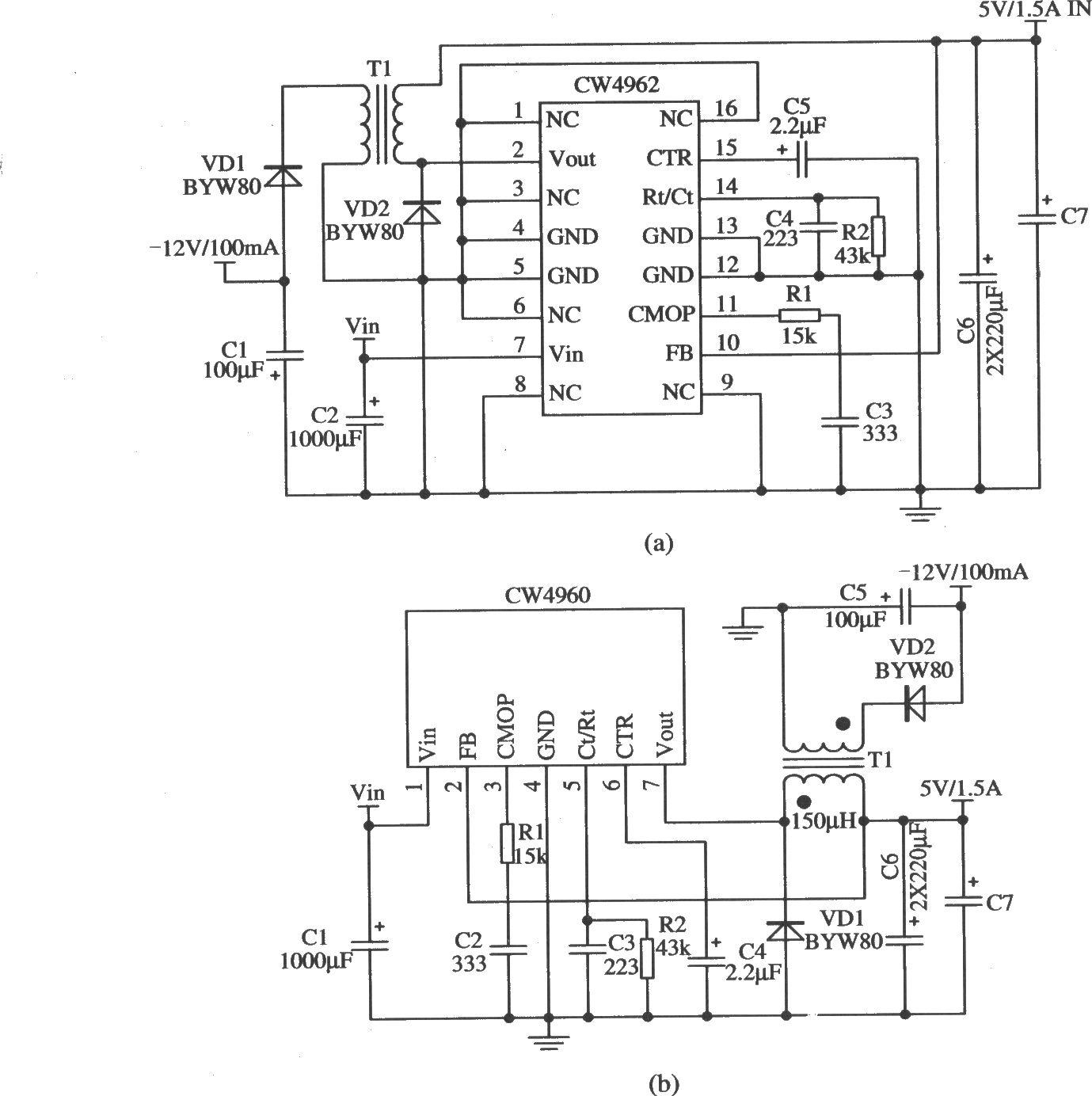 cw4962/cw4960构成双电压输出的应用电路