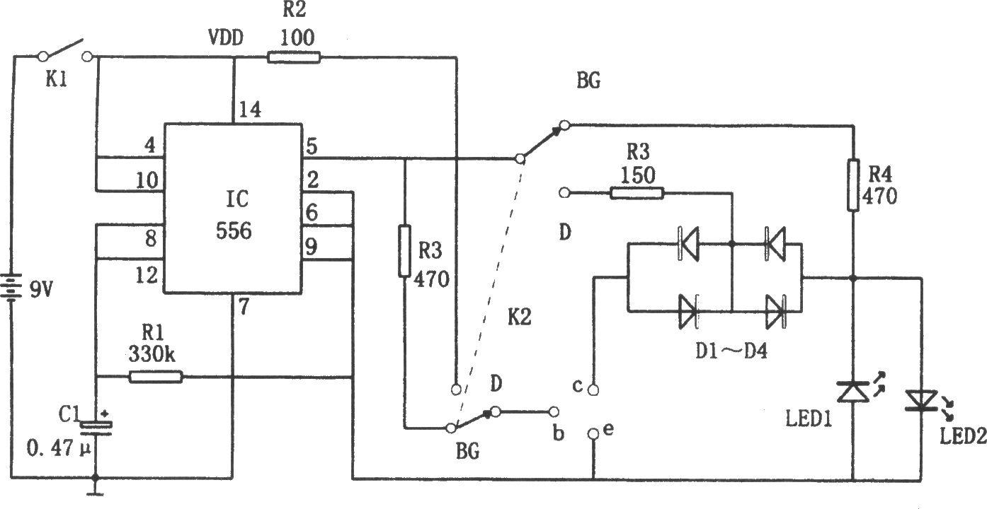 如图所示为二极管,三极管快速在线测试电路.