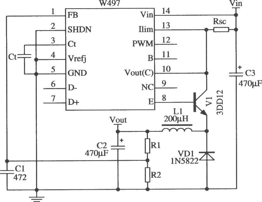 W497的降压型扩流应用电路