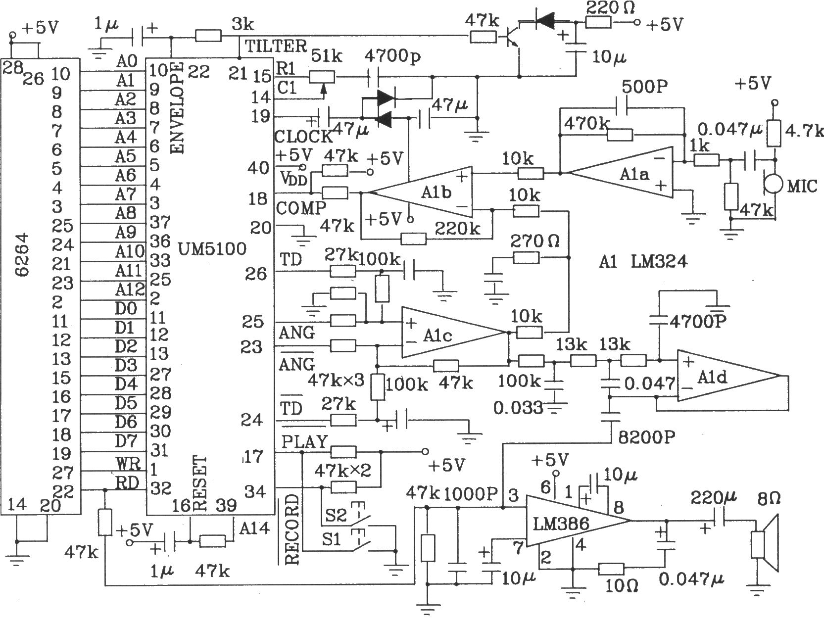 lm324四运放用来实现再生信号的放大,低通滤波器等.