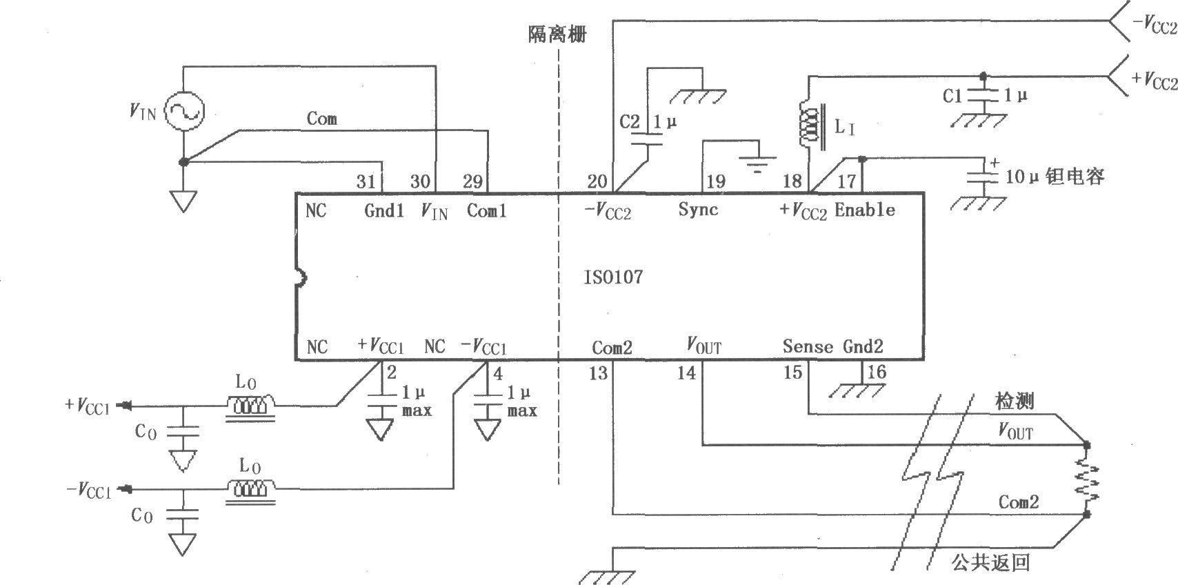 建议电源脚采用如 vcc2脚外接的π型滤波器.