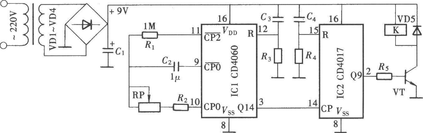 高精度长延时定时控制器(cd4060,cd4017)-电路图-aet