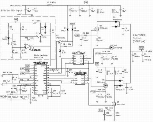 针对车载音频放大器的 300W 、4 相升压转换器