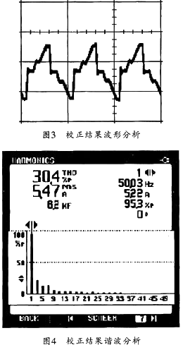 图3所示为采用本文所述新型平均电流控制的boost型电路进行功率因数校正试验的波彤图