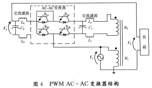 ACAC变换器,通过换流技术来驱动ACAC变换器。当扰动发生使得电压降低时,本装置能提升电压,保持负荷端电压为额定值。在设计中没有使用诸如成组电容器/电感等这些储能元件,造价低且响应速度快。 1 设计方案 图1所示为本设计方案的单相结构图。对电压的补偿是通过迭加电压Vc来实现的,而Vc由PWM ACAC变换器模块提供。当系统正常运行时,PWM ACAC变换器的电子开关作为旁路开关,给电压提供一个通路,将电压Vs直接加到负荷上。此时,电压Vc为O。当电源电压Vs出现扰动时,PWM斩波电路以高频闭合,产