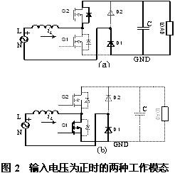 输入电压为正时的两种工作模态
