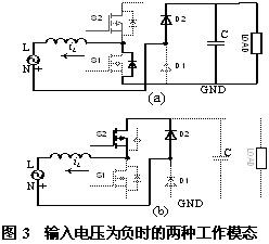 输入电压为负时的两种工作模态