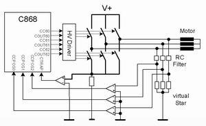 无传感器C868 BLDC系统(a)利用外部比较器